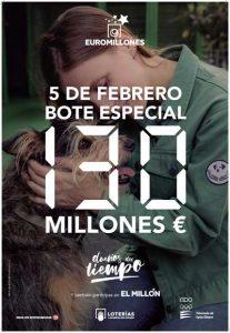 El viernes 5 de Febrero de 2021 bote especial en el Sorteo de Euromillones con un bote mínimo garantizado de 130 millones de Euros.