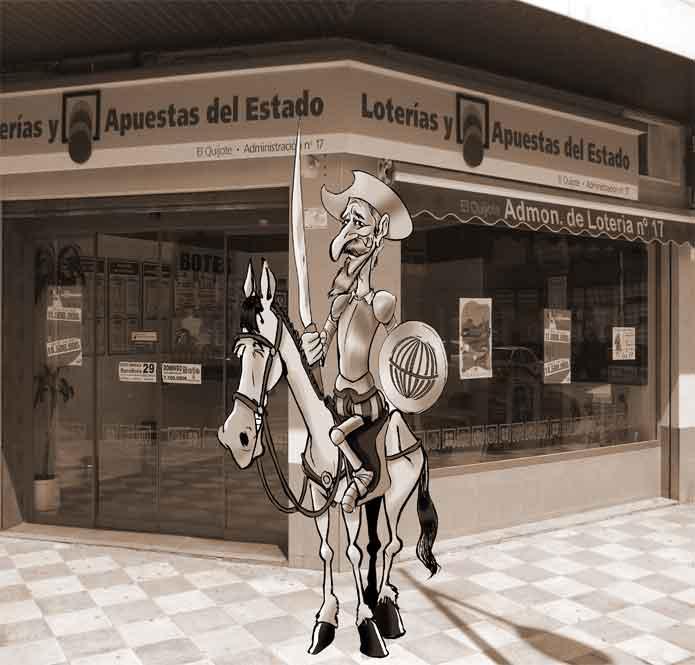 El Quijote en la fachada de la Administración de Lotería numero 17 de Albacete