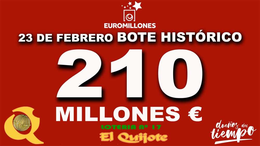 210M el mayor bote en historia de Euromillones