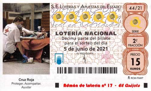 Décimo sorteo Extraordinario Cruz Roja 2021 loteriasyapuesetas El Quijote