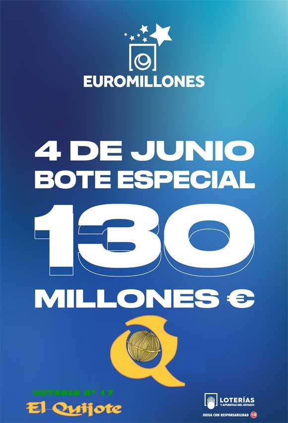Cartel Bote Especial Euromillones 130 millones loteriasyapuestas El Quijote