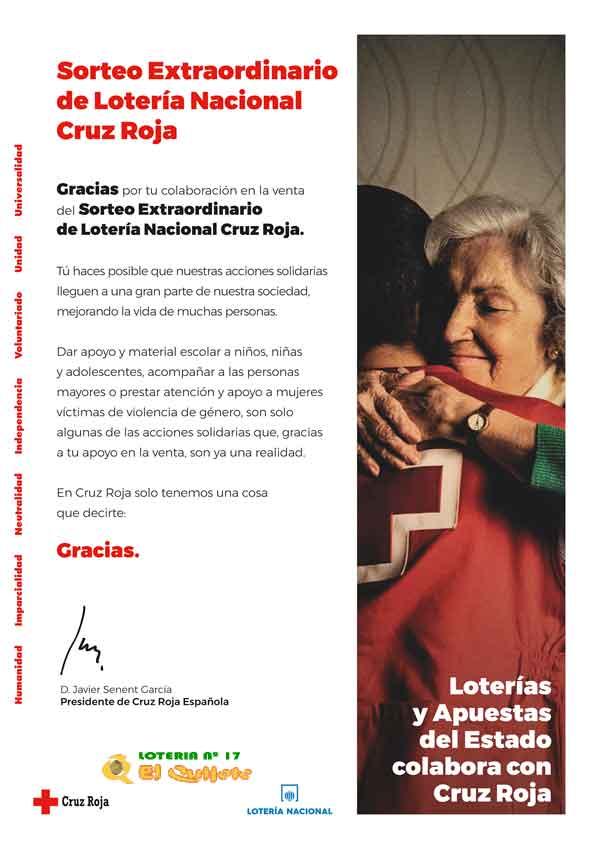 Carta de agradecimiento a los colaboradores en la compra de lotería de Cruz Roja loteriasyapuestas el quijote