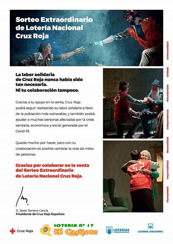 Carta de Cruz Roja a los colaboradores en la compra de lotería loteriasyapuestas el quijote