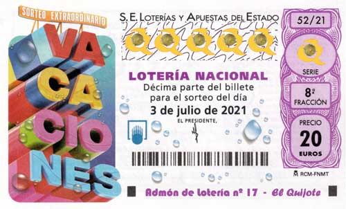 Décimo Sorteo Extraordinario de Vacaciones 2021 loteriasyapuestas El Quijote