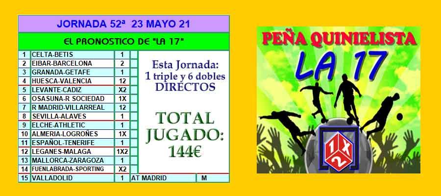 peña quinielista la 17 jornada 52 loteriasyapuestas el quijote