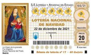 imagen décimo Lotería de Navidad 2021 loteriasyapuestas el quijote