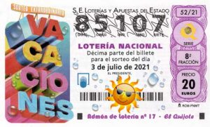 Décimo del numero 85107 para el Sorteo Extraordinario de Vacaciones 2021 loteriasyapuestas El Quijote