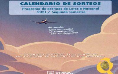 Calendario Lotería Segundo Semestre 2021