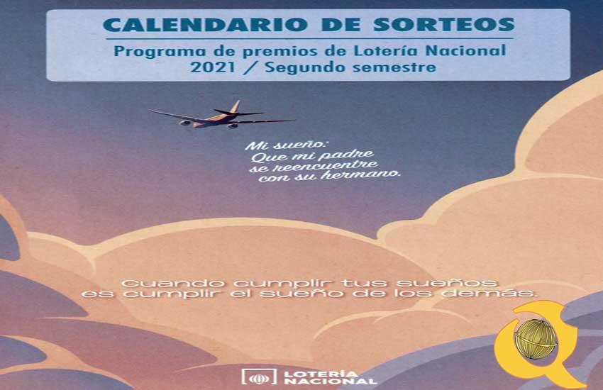 Portada del calendario de Sorteos de Lotería Nacional para el segundo semestre de 2021 loteriasyapuestas El Quijote