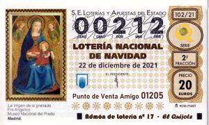 Décimo del numero 00212 de Lotería de Navidad 2021 Loteriasyapuestas El Quijote