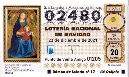 Décimo del numero 02480 de Lotería de Navidad 2021 Loteriasyapuestas El Quijote