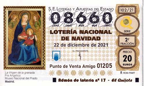 Décimo del numero 08660 de Lotería de Navidad 2021 Loteriasyapuestas El Quijote