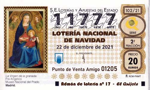 Décimo del numero 11777 de Lotería de Navidad 2021 Loteriasyapuestas El Quijote