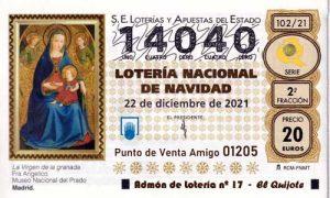 Décimo del numero 14040 de Lotería de Navidad 2021 Loteriasyapuestas El Quijote