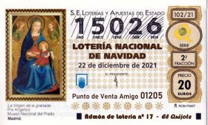 Décimo del numero 15026 de Lotería de Navidad 2021 Loteriasyapuestas El Quijote