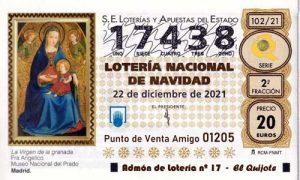 Décimo del numero 17438 de Lotería de Navidad 2021 Loteriasyapuestas El Quijote