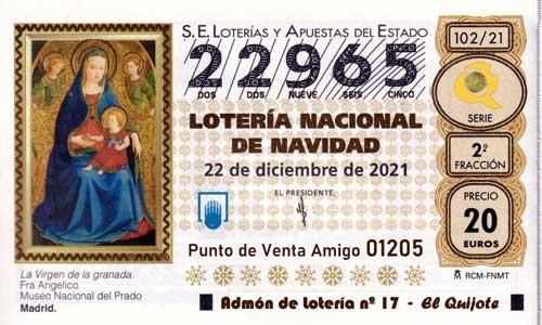 Décimo del numero 22965 de Lotería de Navidad 2021 Loteriasyapuestas El Quijote