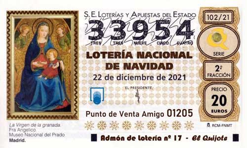 Décimo del numero 33954 de Lotería de Navidad 2021 Loteriasyapuestas El Quijote