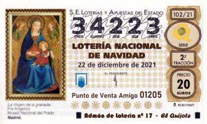 Décimo del numero 34223 de Lotería de Navidad 2021 Loteriasyapuestas El Quijote