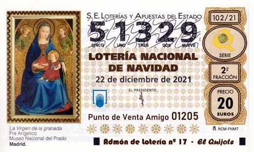 Décimo del numero 51329 de Lotería de Navidad 2021 Loteriasyapuestas El Quijote