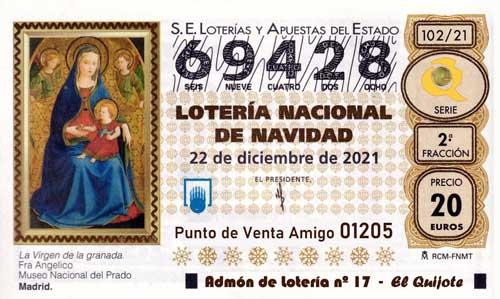 Décimo del numero 69428 de Lotería de Navidad 2021 Loteriasyapuestas El Quijote