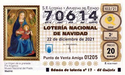 Décimo del numero 70614 de Lotería de Navidad 2021 Loteriasyapuestas El Quijote