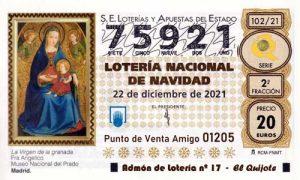 Décimo del numero 75921 de Lotería de Navidad 2021 Loteriasyapuestas El Quijote