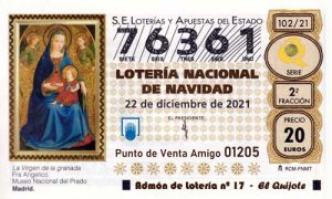 Décimo del numero 76361 de Lotería de Navidad 2021 Loteriasyapuestas El Quijote