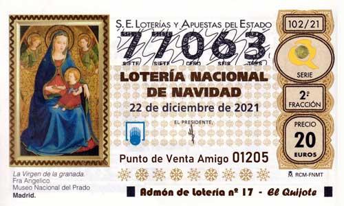 Décimo del numero 77063 de Lotería de Navidad 2021 Loteriasyapuestas El Quijote