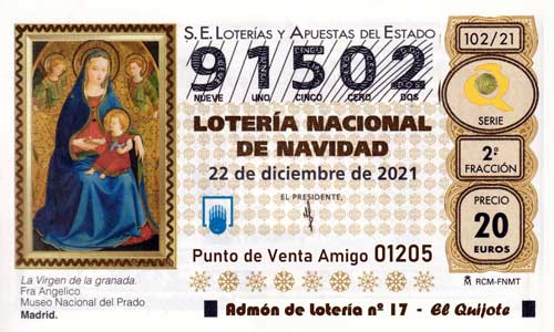 Décimo del numero 91502 de Lotería de Navidad 2021 Loteriasyapuestas El Quijote