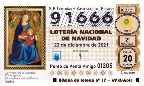 Décimo del numero 91666 de Lotería de Navidad 2021 Loteriasyapuestas El Quijote