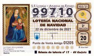 Décimo del numero 99710 de Lotería de Navidad 2021 Loteriasyapuestas El Quijote