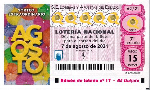 Décimo Sorteo Lotería Extraordinario de Agosto loteriasyapuestas El Quijote