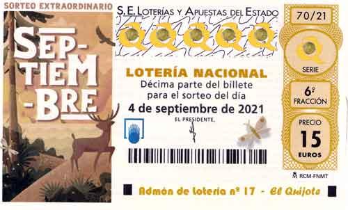 Décimo Sorteo Extraordinario de Septiembre loteriasyapuestas El Quijote