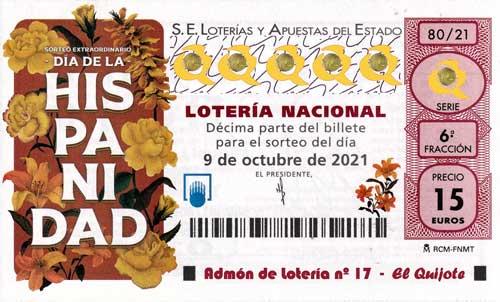 decimo sorteo extraordinario día de la hispanidad 2021 loteriasyapuestas El Quijote