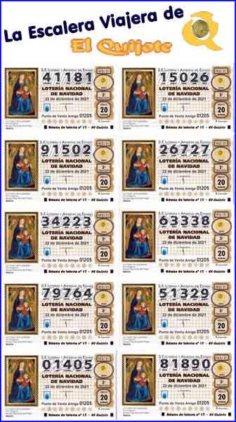 pack escalera viajera lotería de Navidad loteriasyapuetas El Quijote
