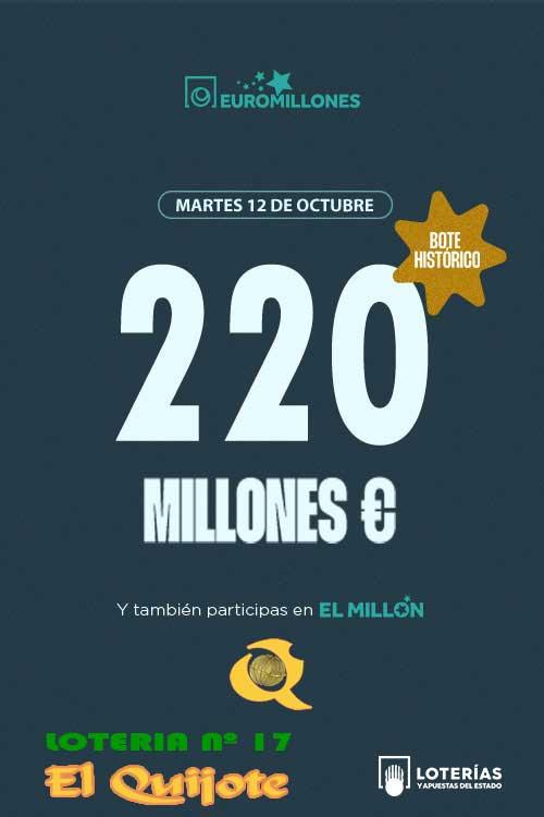 Cartel bote histórico euromillones 12oct21 loteriasyapuestas El Quijote
